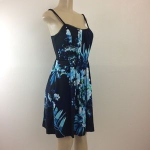 WHBM Dress 4 Black w/Floral Print Skinny Strap NWT